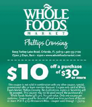 photograph regarding Whole Foods Printable Coupon identify Complete foodstuff price cut coupon / Places to eat about lakeside shopping mall